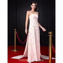 Australia Formal Dress Evening Dress Pearl Pink A Line Spaghetti Straps Court Train Chiffon
